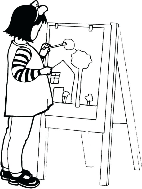 600x799 Paint Brush Coloring Page Worker With Brush Coloring Page Vector
