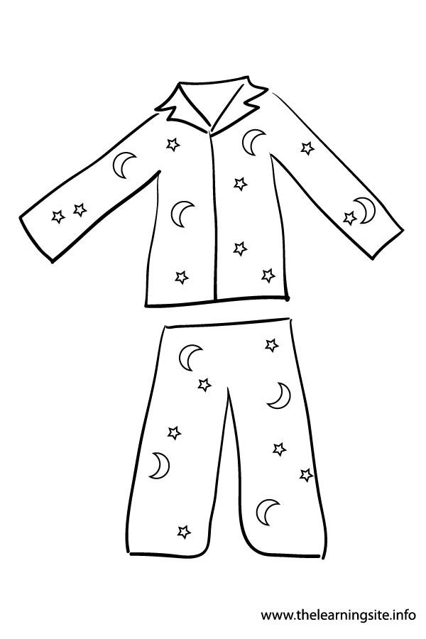 600x900 Pajama Coloring Page Clip Art
