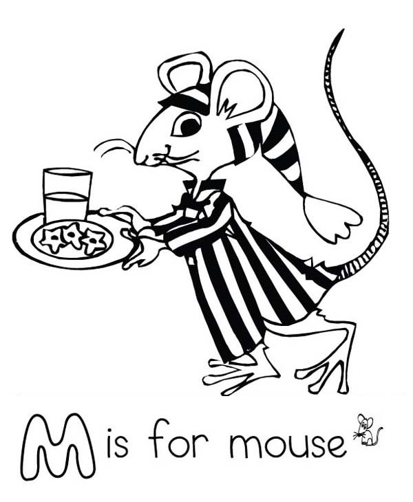 600x730 Letter M For Mouse In Pajamas Coloring Page