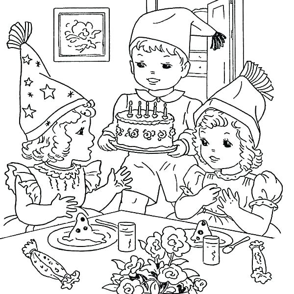 600x600 Party Coloring Pages Birthday Party Colouring Pages Mario Party