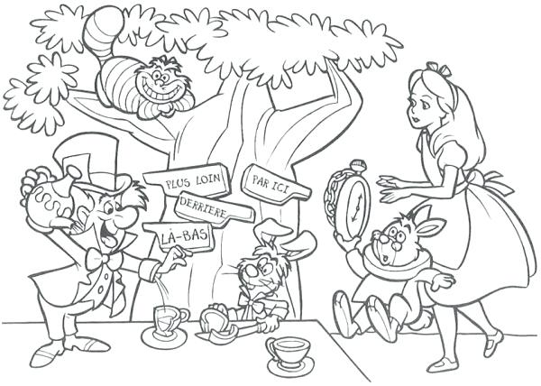 600x428 Party Coloring Pages Mad Hatter Having Tea Party Coloring Page Mad