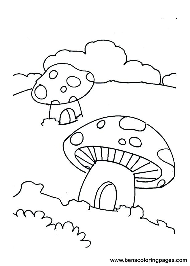 617x864 House Template To Color Mushroom House Coloring Page For Kids