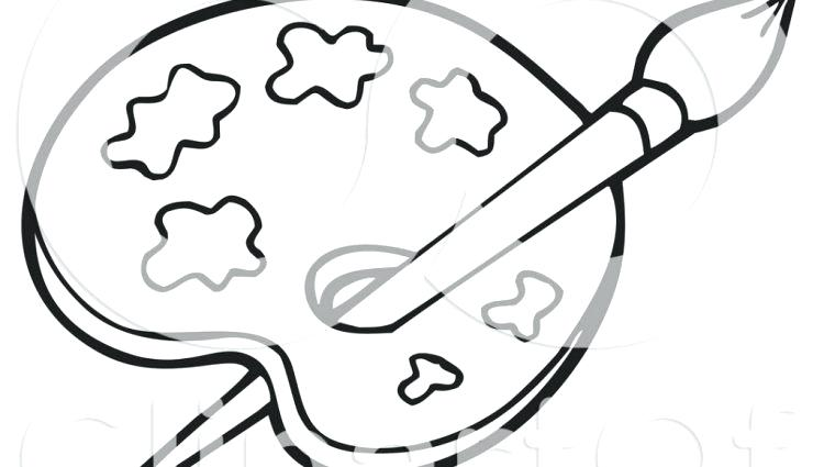 750x425 Paint Palette Colouring Page Royalty Free Illustration