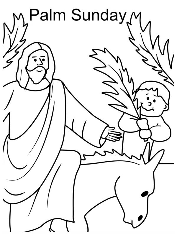 600x797 Kid Wave Palm Tree Branch In Front Of Jesus In Palm Sunday