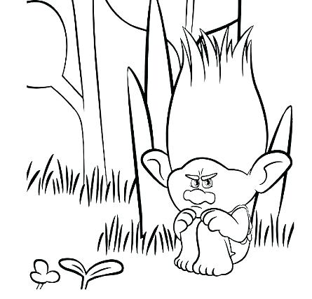 445x427 Branch Coloring Pages Sad Branch Trolls Printable Palm Branch