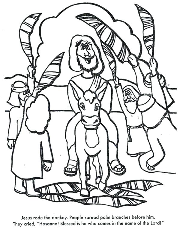 600x765 Palm Sunday Coloring Pages As Amazing Rode The Donkey When Entry