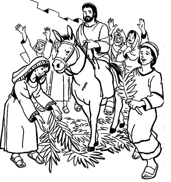 600x636 Hosanna Hosanna In Palm Sunday Coloring Page Color Luna