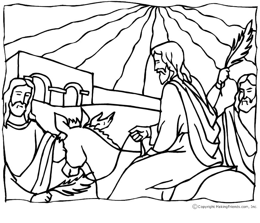873x751 Jesus Palm Sunday Coloring Page