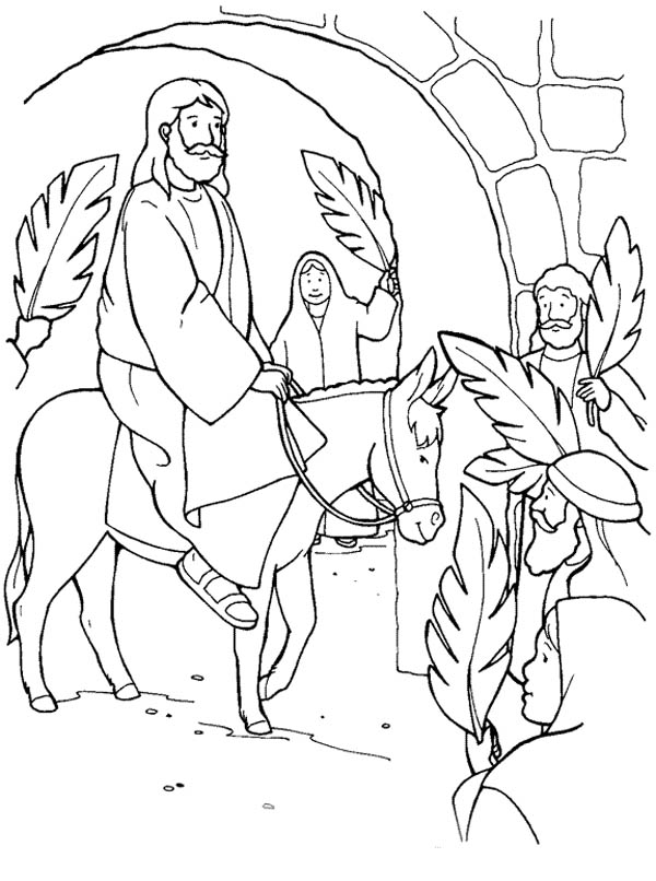 600x806 Palm Sunday Coloring Pages Jesus Through Jerusalem Gate In Palm