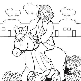 340x340 Jesus Rides Donkey Into Jerusalem Coloring Page