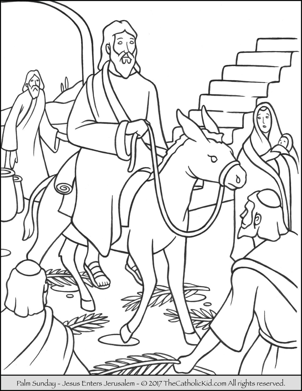 1275x1650 New Jesus Enters Jerusalem In This Palm Sunday Coloring Page