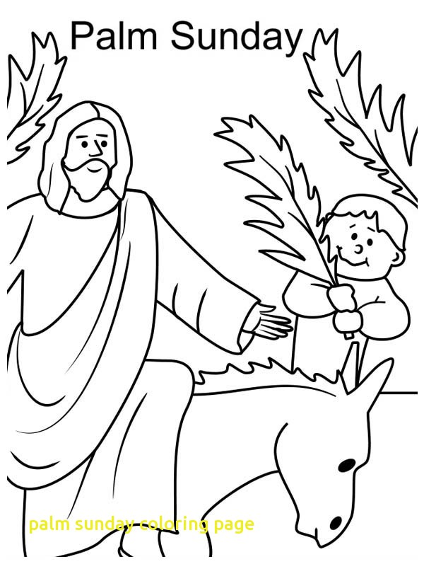 600x797 Palm Sunday Coloring Page With Kid Wave Palm Tree Branch In Front