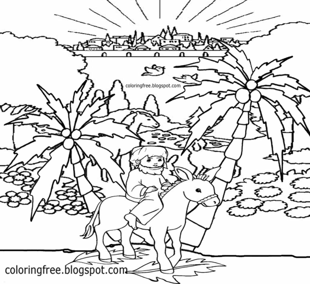 1200x1100 Palm Sunday Coloring Pages