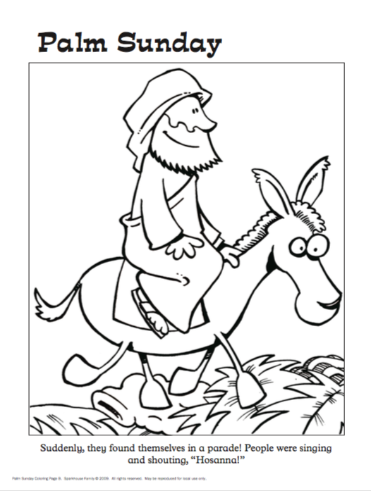 526x697 Free Easter Coloring Sheets Jesus On Palm Sunday Beaming Books