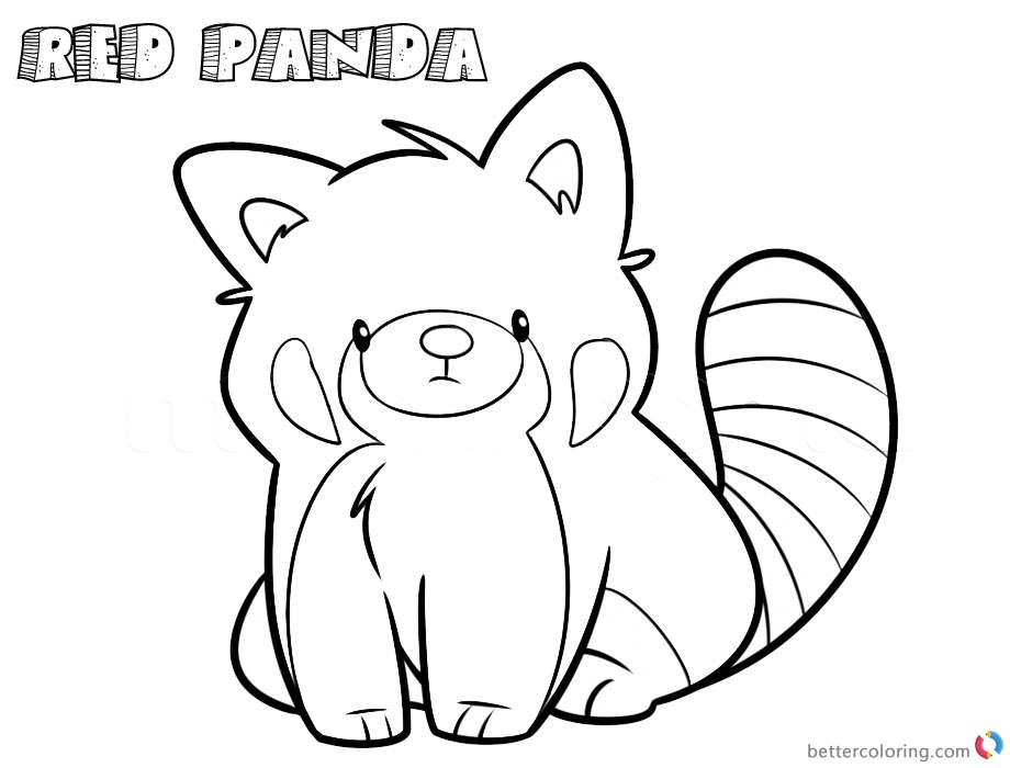 920x700 Red Panda Coloring Pages Cartoon Line Art Drawing