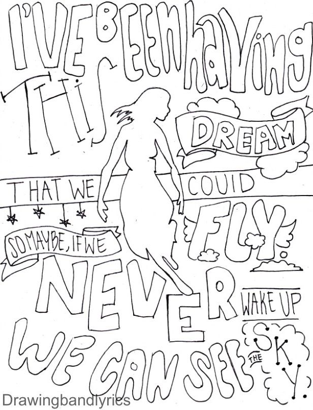 616x805 I Draw Band Lyrics Coloring Pages