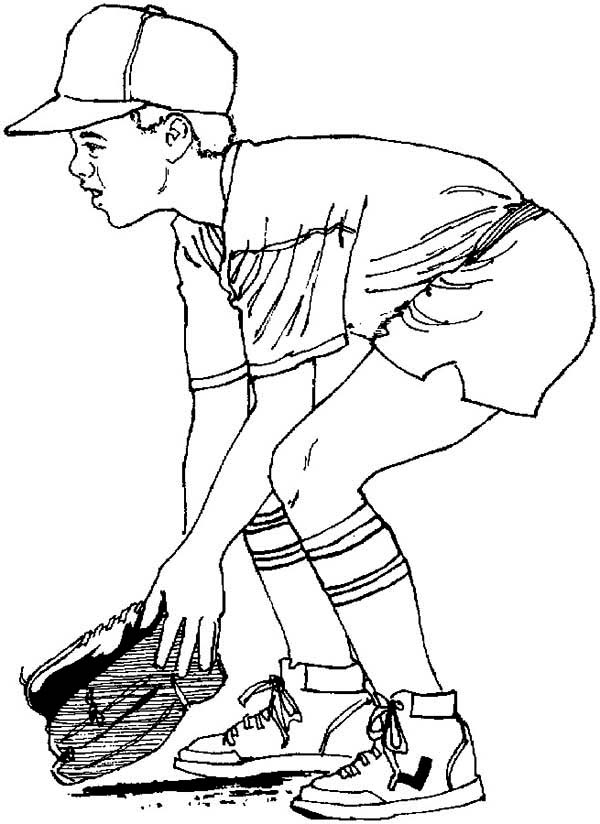 600x824 Ready To Catch A Baseball Coloring Page