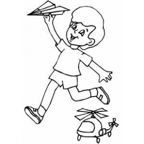 291x291 Boy With Paper Airplane Coloring Page