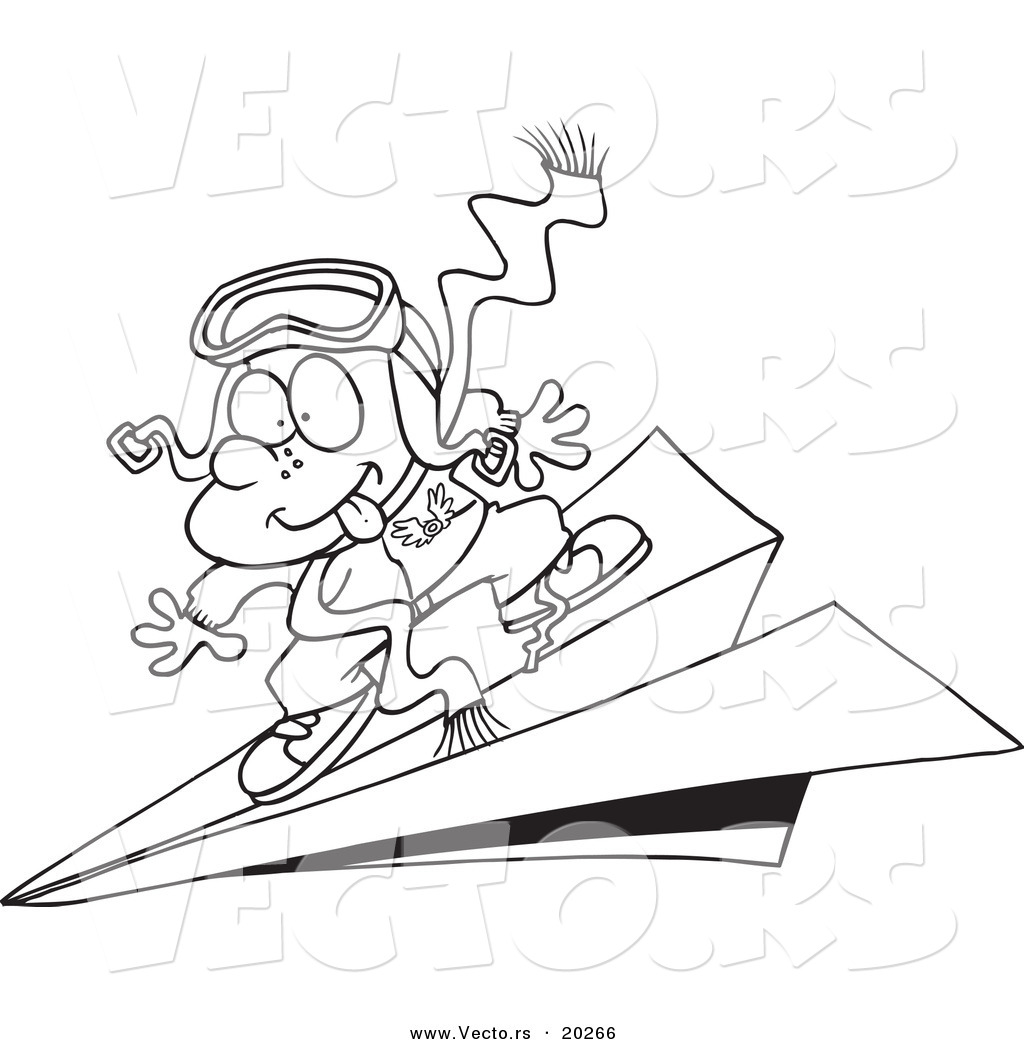 1024x1044 Vector Of A Cartoon Pilot Boy Flying On Paper Plane Outlined