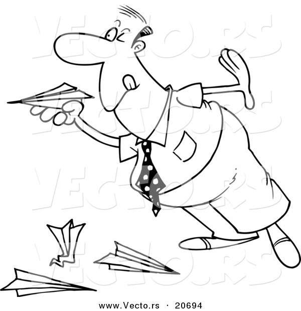 600x620 Vector Of A Cartoon Businessman Playing With Paper Planes