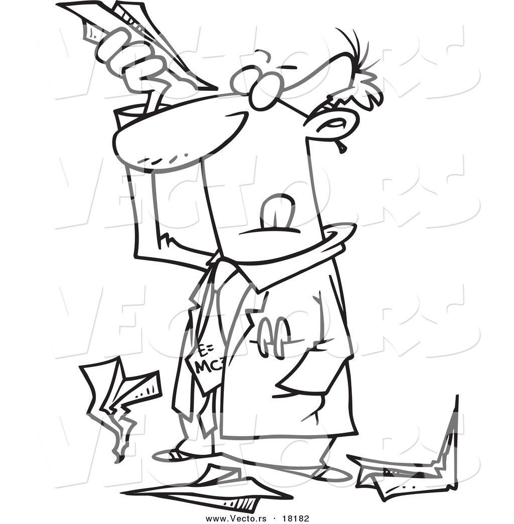 1024x1044 Vector Of A Cartoon Scientist Researching Paper Airplanes