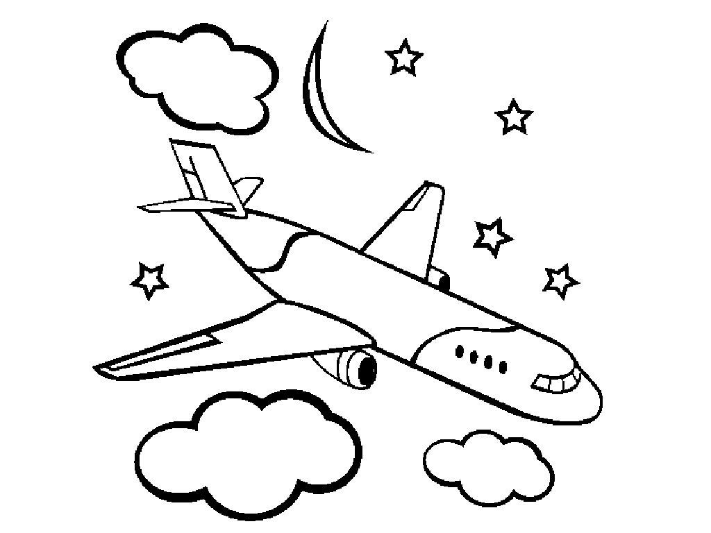 1024x768 Airplane Coloring Page