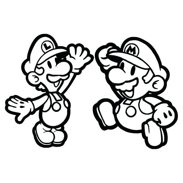600x600 Paper Luigi Coloring Page Mario Pages To Print