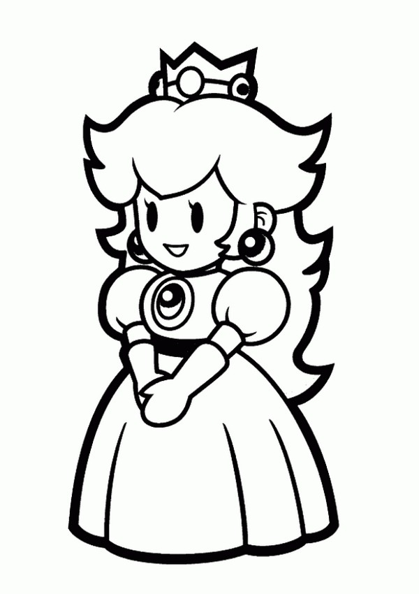 600x850 Paper Mario Sticker Star Coloring Pages Princess Peach Coloring