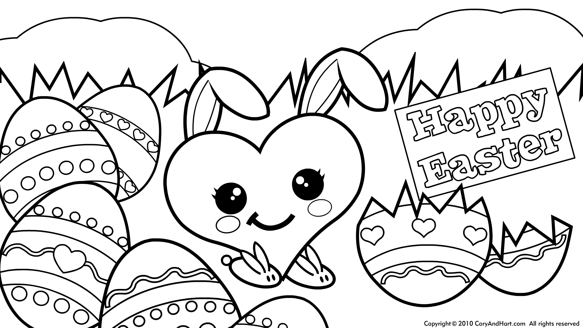2000x1125 Easter Egg Parade Coloring Page