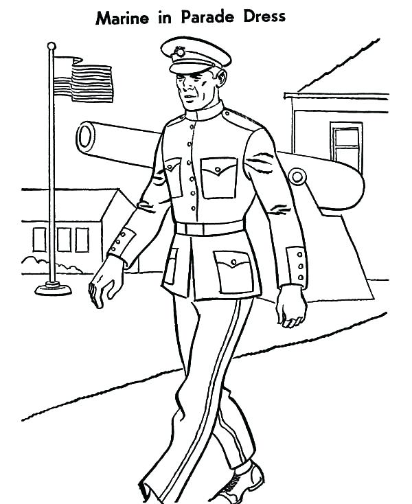 600x734 Marine Coloring Pages Military Marine Parade Dress Coloring Pages