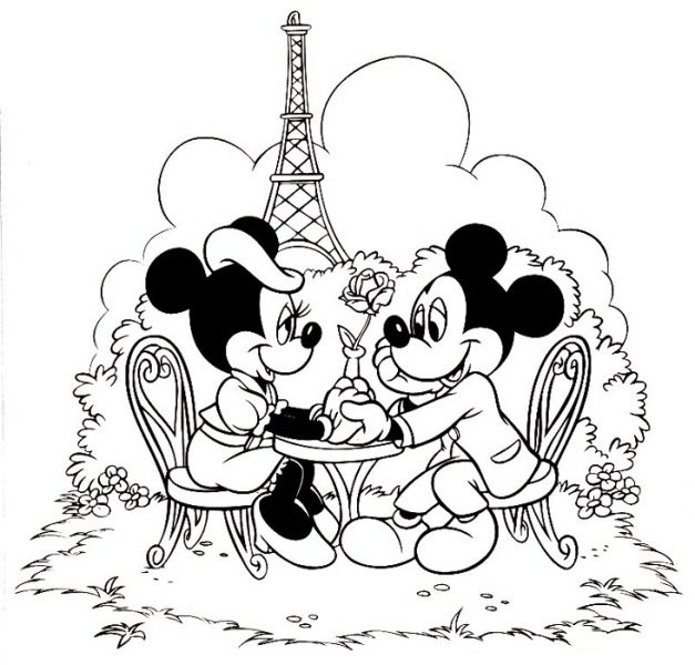 627x600 Mickey And Minnie In Paris Coloring Page Boys Pages