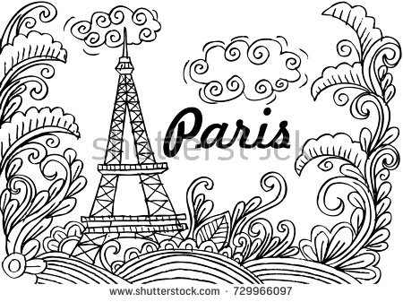 450x337 Paris Coloring Pages Spring Paris Coloring Page Stock Vector Stock