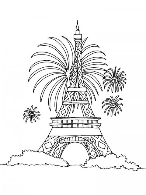 480x640 Paris Eiffel Tower Fireworks Coloring Pages