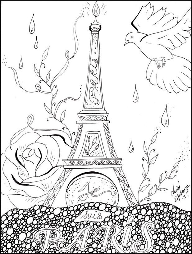 618x818 Paris Coloring Pages Adult Coloring Page Peace For Paris