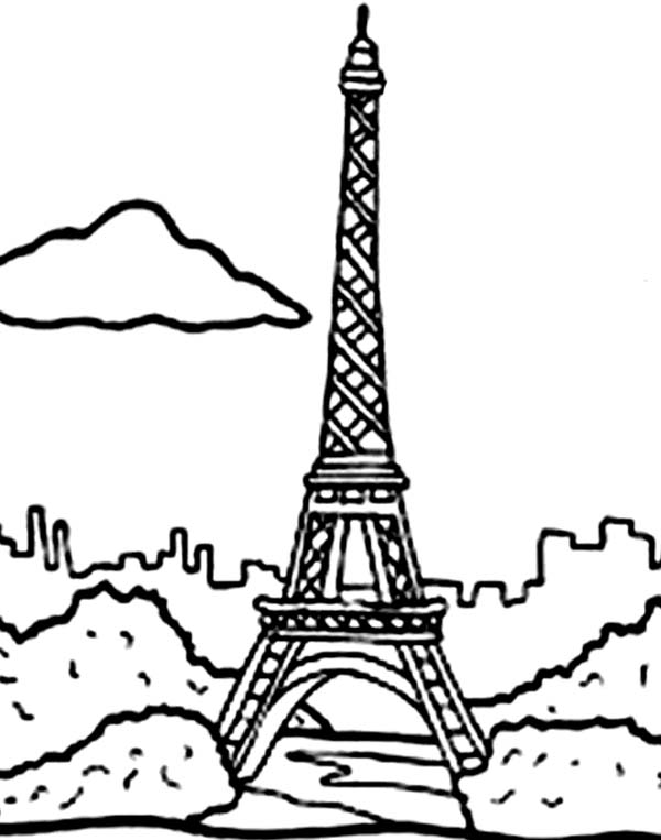 600x763 Paris Coloring Pages Holiday In Eiffel Tower Coloring Page