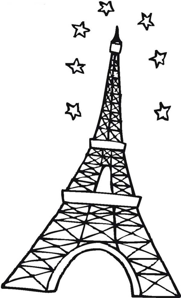 600x987 Eiffel Tower And Stars In The Sky Coloring Page