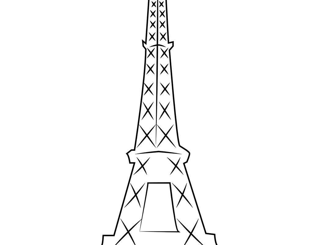 1060x800 Eiffel Towering Pages Free Draw To Coloring Tower General