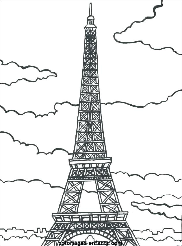630x850 Tower Cartoon Drawing Tower Coloring Page Eiffel Tower Paris