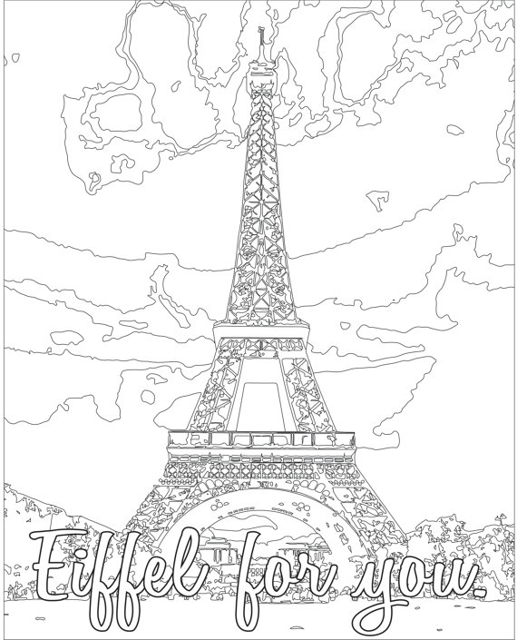 570x705 Adult Coloring Page Color Therapy Digital Download Eiffel