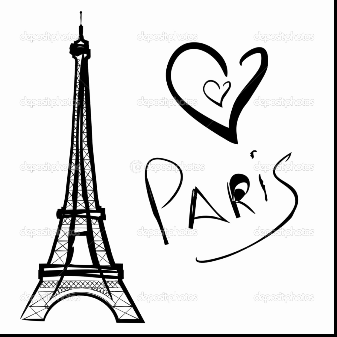 1126x1126 Eiffel Tower Coloring Page