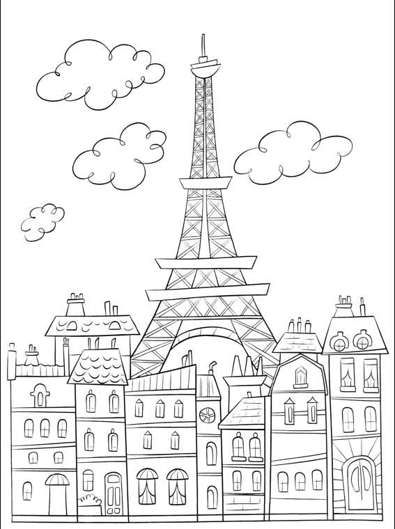 Paris - Coloring Pages for Adults | 760x567