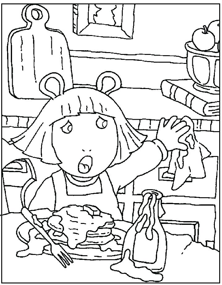 718x919 Arthur Coloring Page Fern Sitting On Bench Park Reading A Book