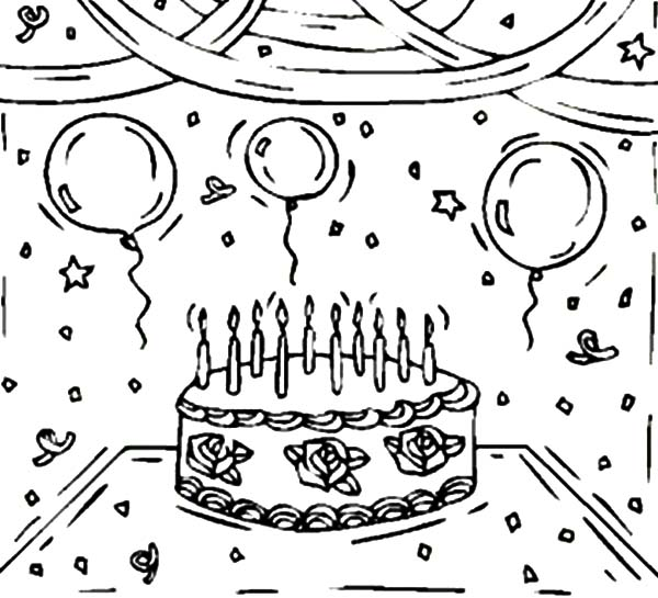600x545 Birthday Cake And Balloons Coloring Pages Birthday Cake, Happy