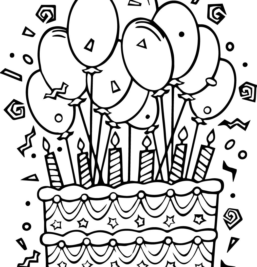 1042x1080 Happy Birthday Balloons Coloring Pages For Kids Boys