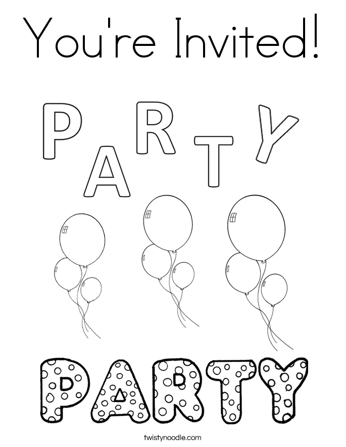 685x886 You're Invited Coloring Page