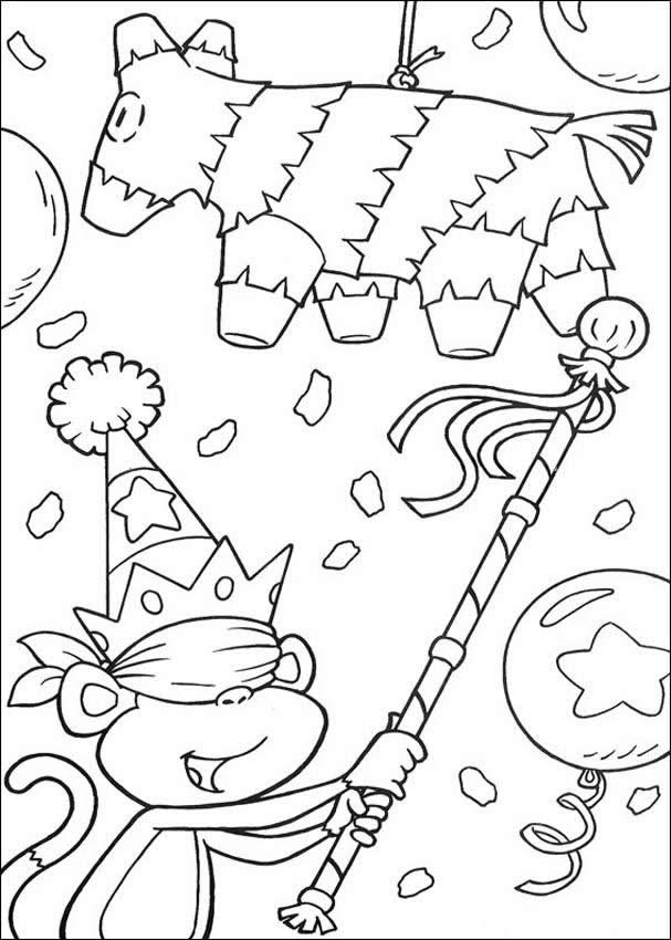 607x850 Birthday Party Coloring Pages