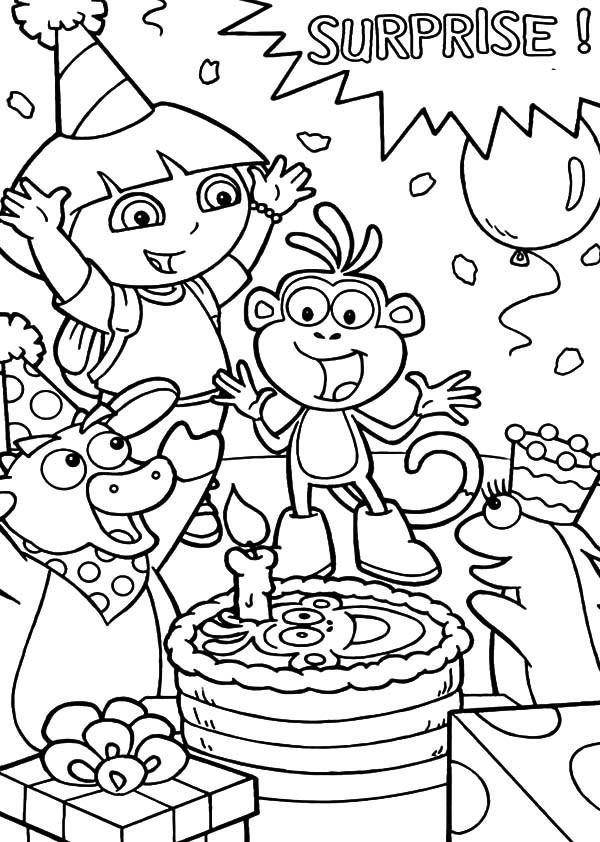 600x842 Dora The Explorer Friend Boots Surprise Birthday Party Coloring