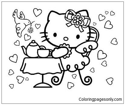 413x348 Hello Kitty Tea Party Coloring Page Hello Kitty Coloring