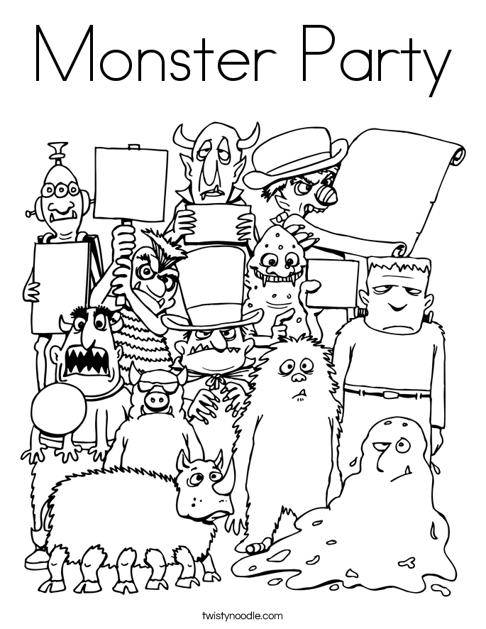 685x886 Monster Party Coloring Page