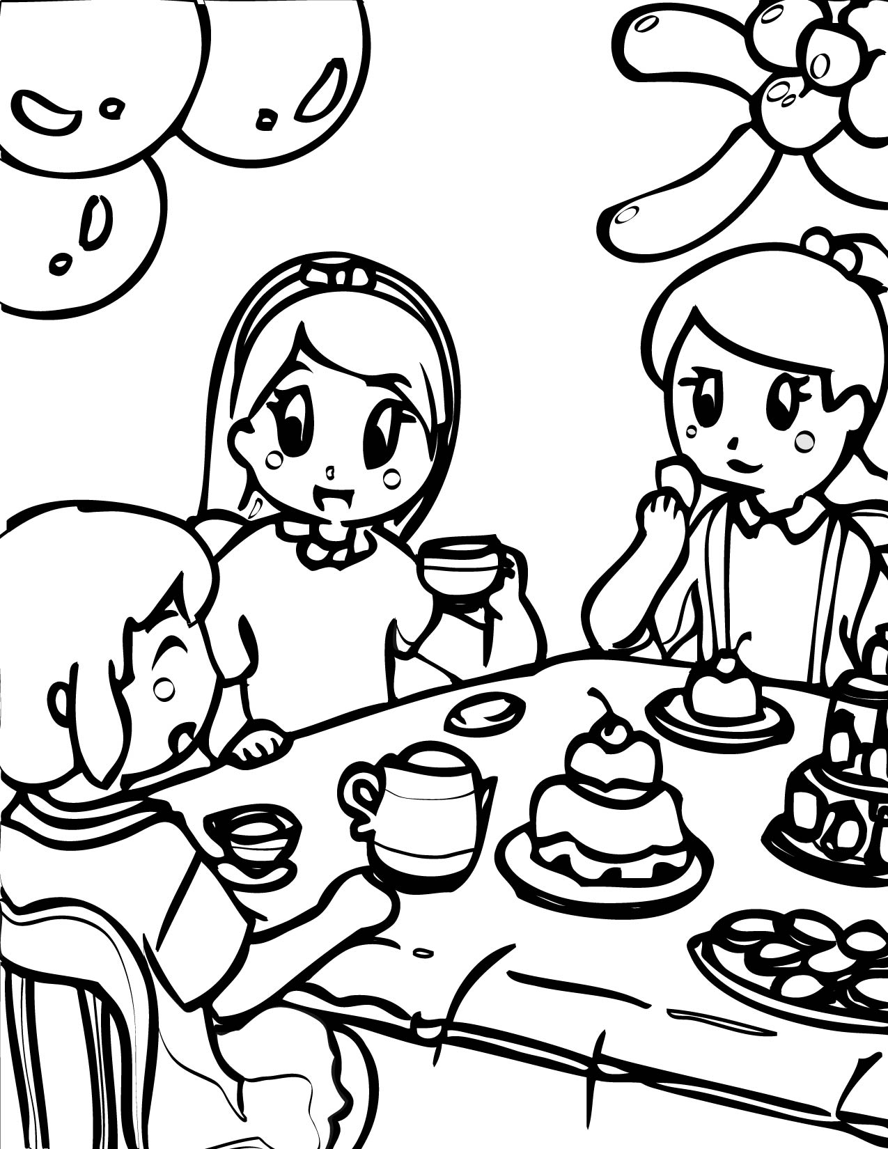 1275x1650 Tea Party Coloring Page